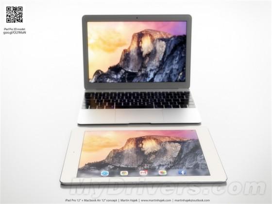 看看苹果12寸MBA/12寸iPad Pro概念图设计:好美