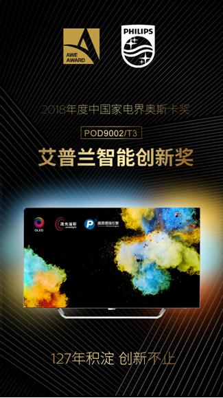 飞利浦OLED电视POD9002/T3,问鼎2018年艾普兰奖