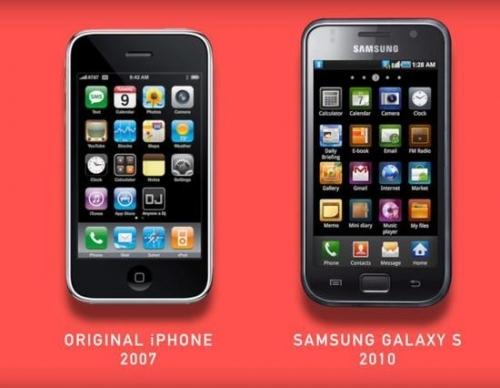▲初代iPhone与三星GALAXY S