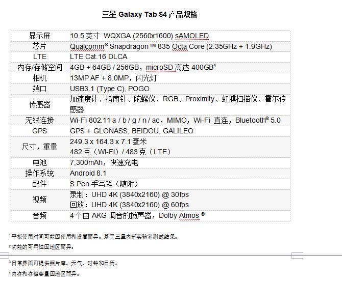 全新三星Galaxy Tab S4,随时随地提供尊享服务