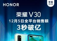 全平台销售额3秒破亿!3299元起荣耀V30果然是5G爆款