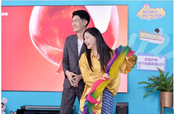 金靖直播带货卖出10万元级海信激光电视,创中国家电直播带货历史纪录!