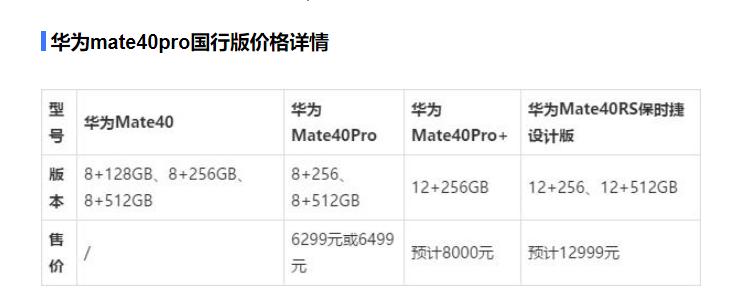华为mate40pro  国行8+256 版本 6299元