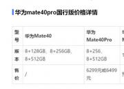 华为mate40pro  国行版8+256GB售价6299元